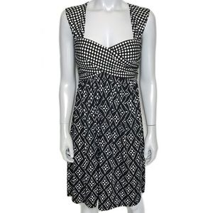 {max studio} black and white patterned dress